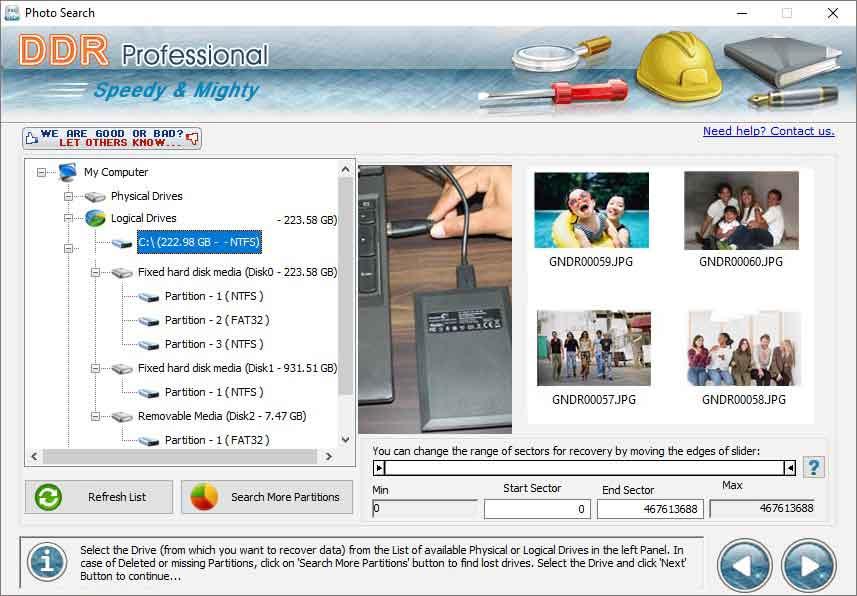Windows Partition Restoration Software screen shot